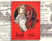 Gothic Christmas Card Download. Krampus Printable Card. Funny Card PDF. Creepy Christmas Card. Naughty Nice digital file