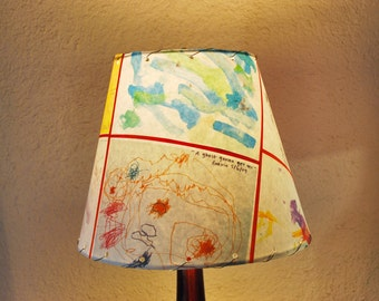 Custom Kid-Art Lamp Shades 6'' x 10'' x 8.5'' (top, bottom, height)