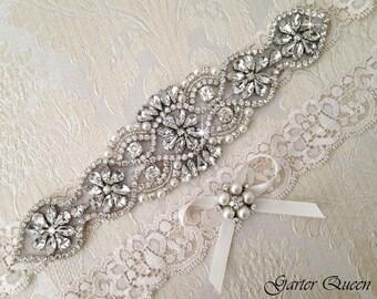 Ivory Lace Wedding Garter Set, MONOGRAM Wedding Garter Set Personalized Bridal garter Set, Rhinestone Garter, Ivory Garter, Crystal Garter