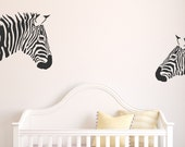 Zebra Wall  Decal - Safari Nursery Decal Decor - Safari Decor - Zebras - Wall Vinyl - Vinyl Decal - Decals