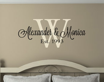 Family Name Monogram Decal - Family Name Decal - Couples Decals - Wedding Gifts - Wall Decal - Vinyl Decal - Wall Decor - Decals - Monograms