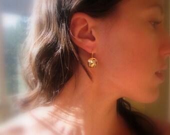 Gold Cushion Cut Earrings, Champagne Diamond, Gold Swarovski Crystal Earrings, Square Rhinestone - CZ Bridesmaid Earrings, Drop