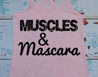 Burnout Tank. Workout Tank. Muscles and Mascara. workout tanks. Exercise Tank. Workout Shirt. Exercise Shirt. workout clothing. Racerback.