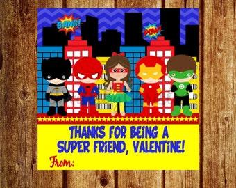 Instant Download- Super Hero Valentines Day Tag- Super Friend, Valentine Tag -  DIY Printable Favor Tags