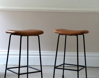 Pair Of 1950s Tan Leather Bar Stools