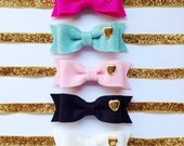 Wool Felt Bow with Gold Heart Stud On Elastic Headband OR Clip - Medium Bow Size - Your Choice of Color