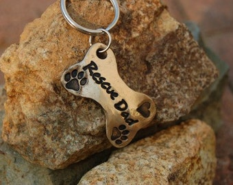 Rescue Mom Keychain, Rescue Dad Key Chain or Pendant, Animal Lover Gift, Gift for Dad, Dog Dad, Dog Mom, Rescue Pet, Animal Rescue Gift