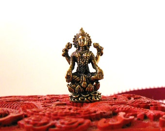 Brass LAKSHMI STATUE, Tiny brass 4 Arm Deity seated, portable altar, Goddess of Fortune Statue, Goddess of Wealth figurine, Primitive Deity