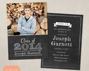 Senior Graduation Announcement Template for Photographers - PSD Flat card - Bold Chalkboard CG018