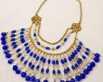 Vintage Miriam Haskell Necklace INDIGO Art Glass Bib Necklace Collar Necklace Blue a MASSIVE RARITY