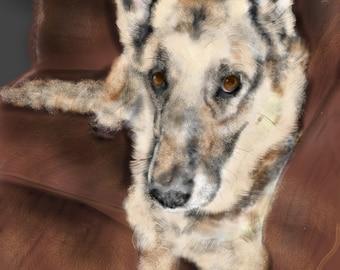 Custom Dog Pet Portrait, dog lover, dog art, dog memorial, artwork, pet, painting, German Shepherd on Leather Couch, German shepherd, dog