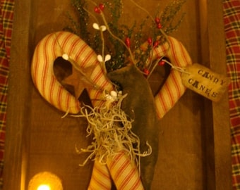 Primitive Candy Canes & Crow Wall Hanger