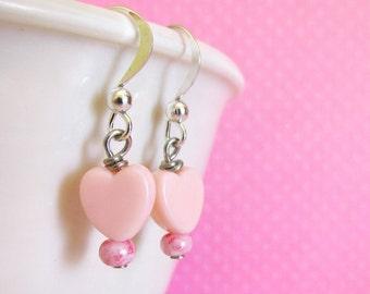 Pastel Pink Heart Earrings, Cute Jewelry, Lolita Decora Fairy Kei Jewelry for Women Girls and Teens