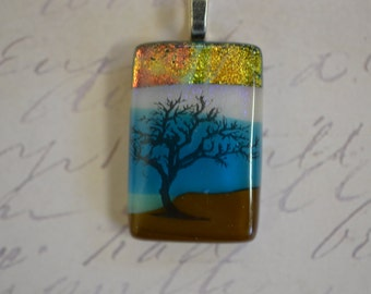 Dichroic Pendant - FUSED GLASS JEWELRY - Tree Jewlery - Dichroic glass jewelry - Tree