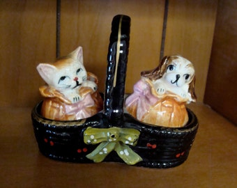 Vtg Puppy and Kitten in Basket Salt & Pepper Set by GN Co