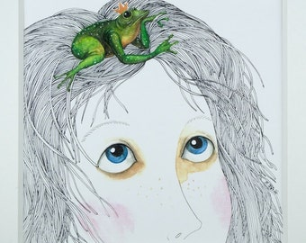 The Frog King, Limited Edition. Illustration, children's art. Art Print. High Quality Digital Print on Paper, 15 x 15 cm