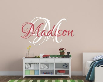 Baby Girl Nursery Wall Decal - Girls Name Wall Decal - Childrens Wall Decal - Monogram Wall Decal - Vinyl Lettering