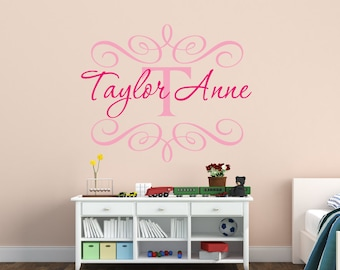 Personalized Name Wall Decal Shabby Chic Baby Girl Name Wall Decal Heart Decal Monogram Wall Decal Nursery Decor Nursery Wall Decal