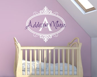 Baby Girl Nursery Wall Decal - Childrens Wall Decals - Monogram Name Vinyl Lettering