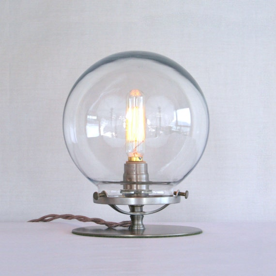 clear glass globe table lamp steampunk table lamp clear globe. Black Bedroom Furniture Sets. Home Design Ideas
