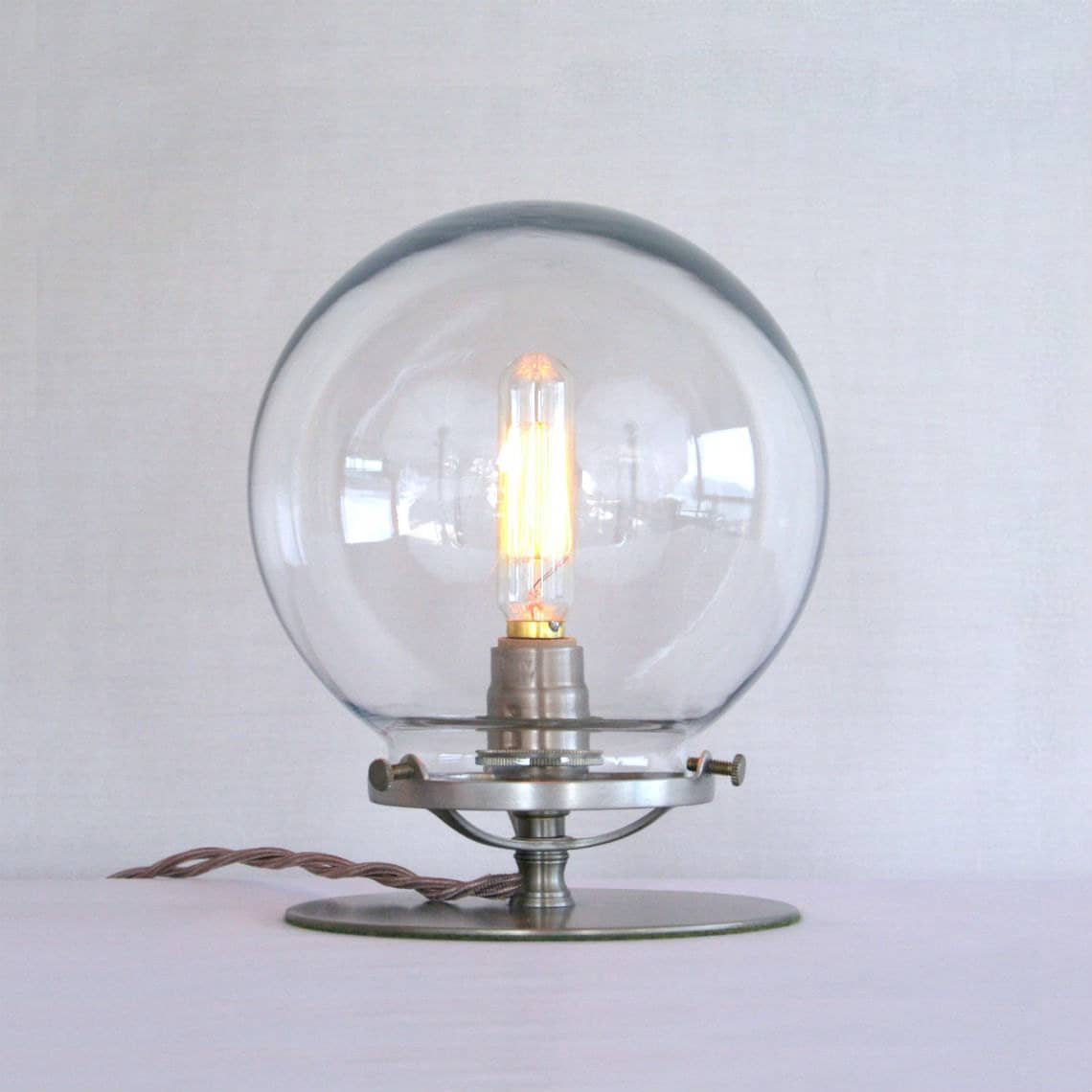 clear glass globe table lamp steampunk table lamp clear. Black Bedroom Furniture Sets. Home Design Ideas