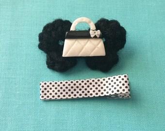 Black & White Purse Bitty Bow Crochet Hair Clip