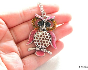 Owl Pendant Necklace In Silver, Pink and Orange