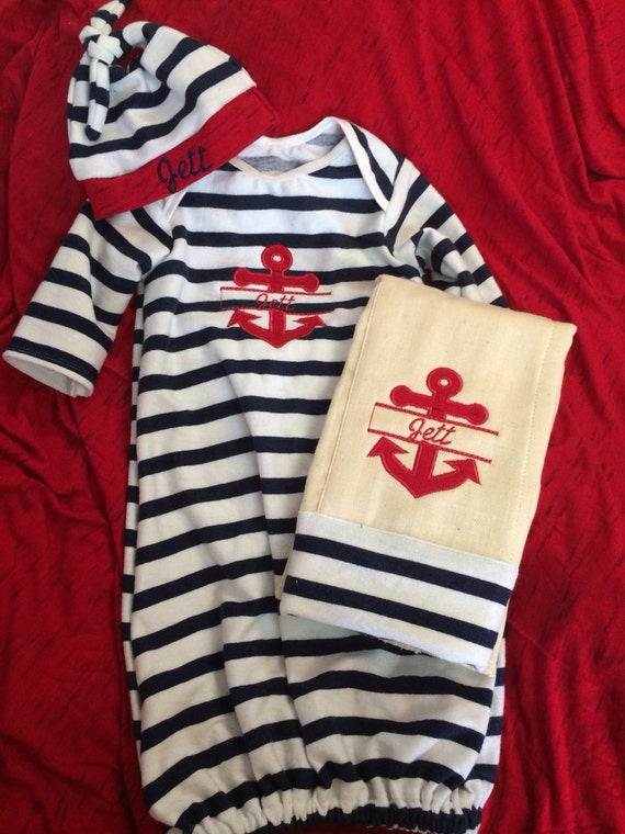 Nautical theme anchor infant boy or girl gown set baby