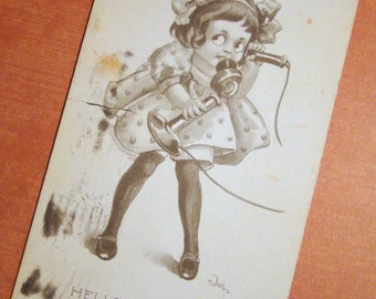 Antique Postcard - Young Girl on a Telephone - 1910s Vintage Paper Ephemera