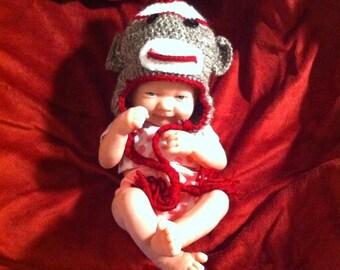 Handmade Newborn to Child Size Crochet Sock Monkey Hat (Made to Order)