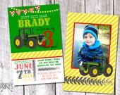 Tractor Photo Birthday Invitation - 8.5x 5.5 Digital File