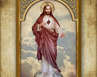 Sacred Heart of Jesus (full body),  Boxed Plaque & Holy Card GIFT SET #1045