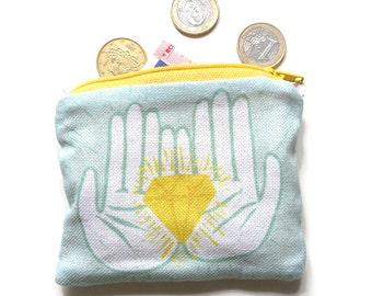 diamond purse - French print fabric