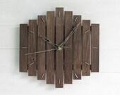 Romb I, geometric wall clock wooden minimal simple black home office dark room bedroom hanging clocks wood continuous quiet gift, Paladim