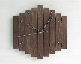 Black Wall Clock, Wooden Decor, Romb Clock, Silent Wall Clock, Dark Wood Clock, Hanging Clock, Geometric Decor, Living Room Clock