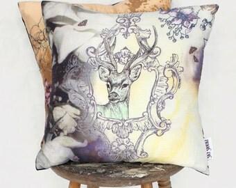 Deer Dream - Silk and Velvet Yellow Cushion