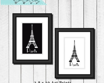 8 x 10 Printable Art Print,Eiffel Tower Paris,Black and White, Digital download, instant download, Home decor, Poster,Pair