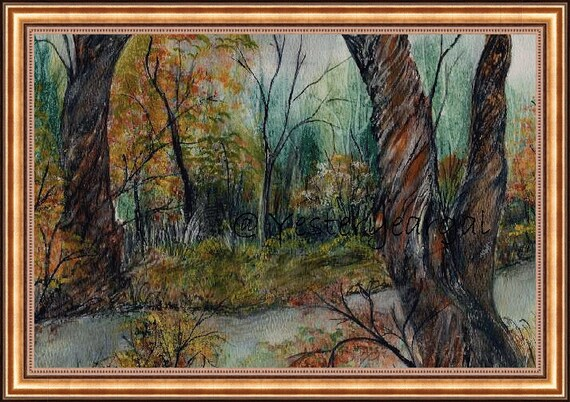 A Walk By The River  Fine Art Giclee Print  11 x 14  Country Scene