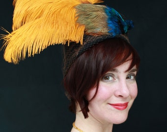 Custom Order: Vintage 1930s 1940s-Style Black Felt Turban with Vintage Veiling & Faux Bird of Paradise