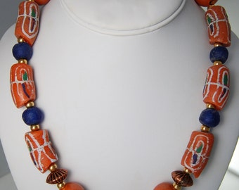 Single Strand Orange African Trade Beads, Blue glass, Orange Wood, brass