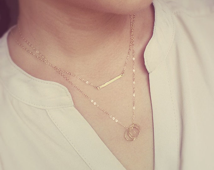 Gold Layered Necklace - Bar and Circles Necklace