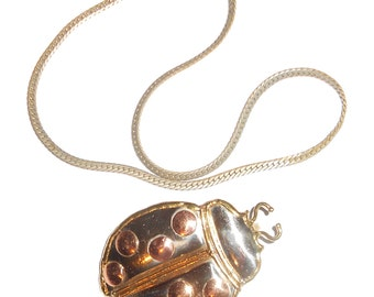 Vintage chain and pendant a Giant Ladybug pendant pin on 1970s 14K GP chain all mixed metals Free USA Shipping