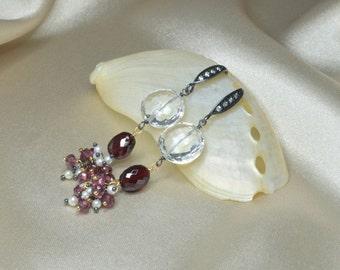 White Topaz, Crimson Red Garnet, Rhodolite Garnet, Freshwater Pearl Mixed Metal Earrings