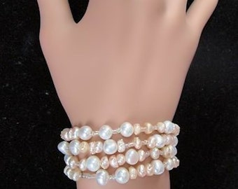 White Pearl One of a Kind Hand Designed USA Glass and Pearls Beaded Necklace or Bracelet