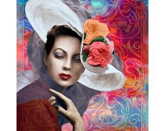 Glamour fashion vintage goddess, digtal print, photomontage, 1940 s fashion, vintage art, fine art, home decor, Vogue vintage, modern art