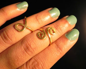 Hammered Gold Silver Copper Knuckle Ring Set or Toe Ring set by Raadhe Handmade Jewelry