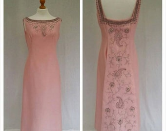 1950's cocktail dress, Blush pink,ball gown,evening dress,maxi dress,vintage,women,rhinestone,app size 12 , By dottys vintage etsy