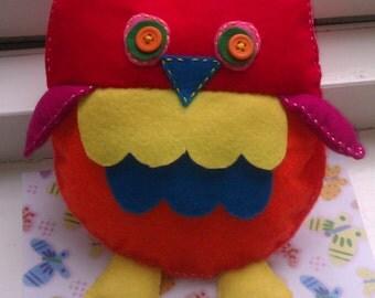 Colorfull cute felt owl