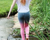 Pink and Gray Leggings, Womens Activewear, Gym Leggings, Yoga Pants, Festival Clothing, Handmade by OmBeautiful