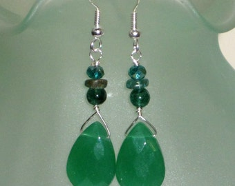 REDUCED FOR CHRISTMAS Green Mixed Semiprecious Stones Artisan Earrings